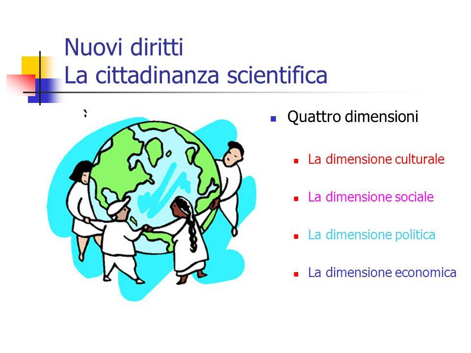 Nuovi diritti La cittadinanza scientifica ì Quattro dimensioni La dimensione culturale La dimensione sociale La dimensione politica La dimensione econ