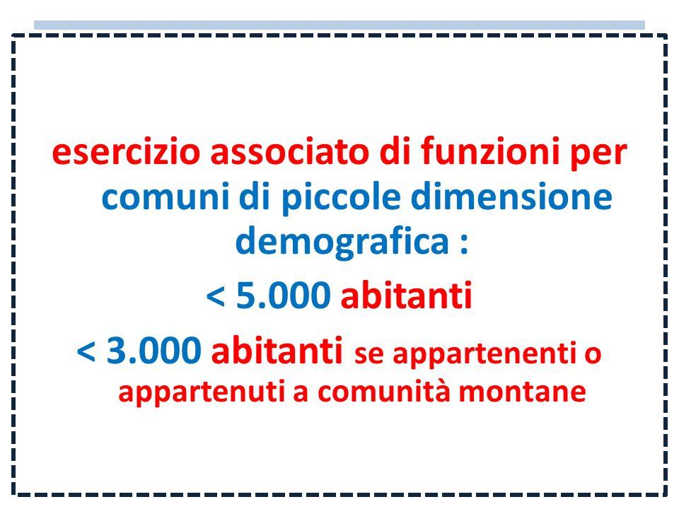 esercizio associato di funzioni per comuni di piccole dimensione demografica : < 5.000 abitanti < 3.000 abitanti se appartenenti o appartenuti a comun