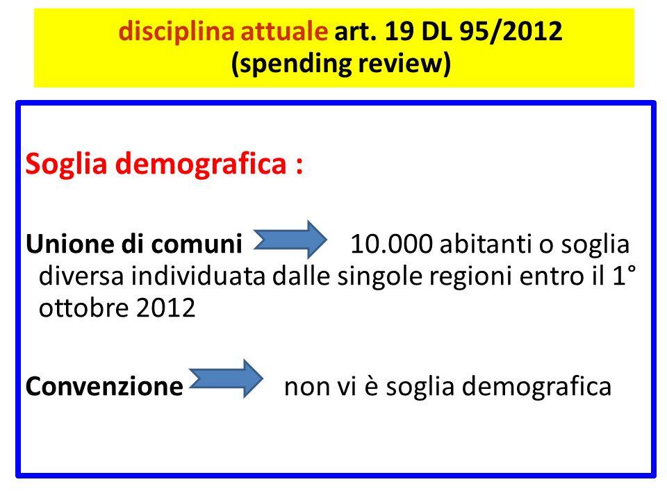 disciplina attuale art. 19 DL 95/2012 (spending review) Soglia demografica : Unione di comuni 10.000 abitanti o soglia diversa individuata dalle singo