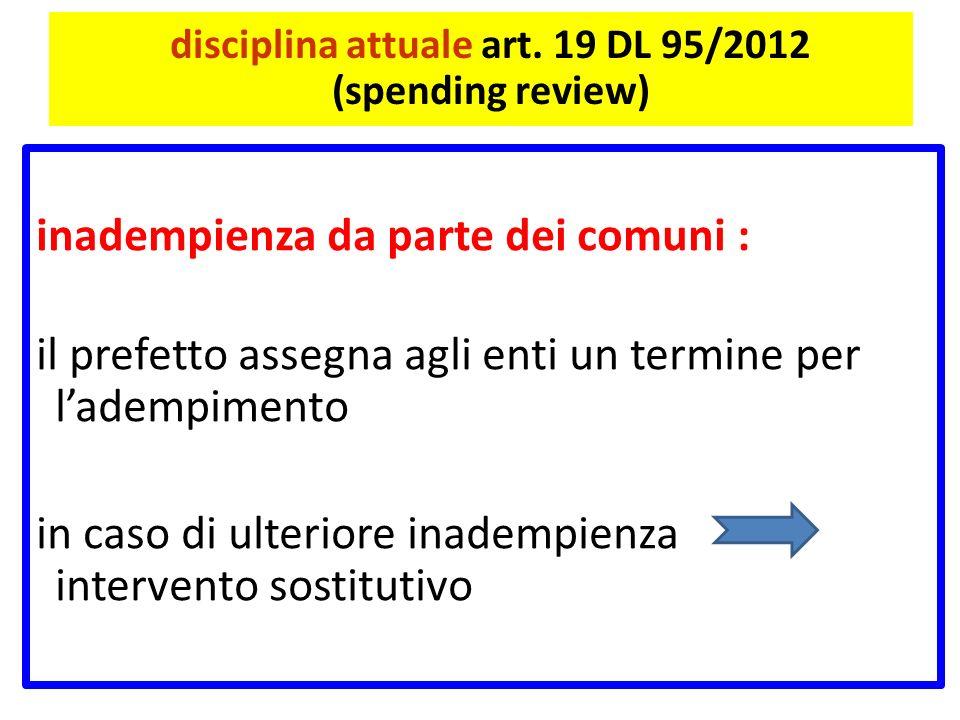 disciplina attuale art. 19 DL 95/2012 (spending review) inadempienza da parte dei comuni : il prefetto assegna agli enti un termine per ladempimento i