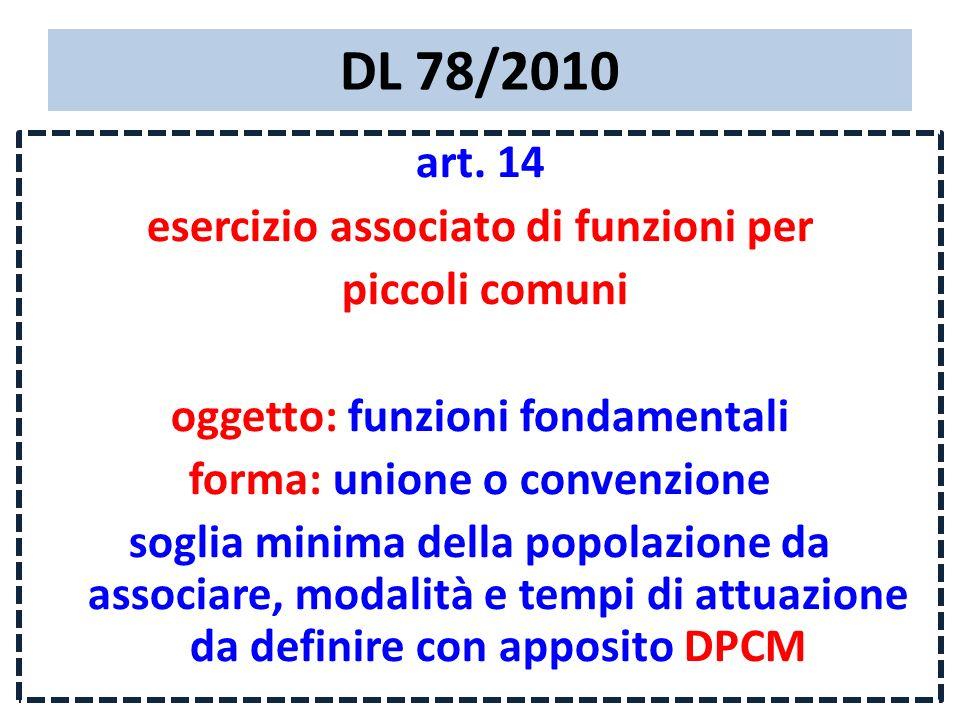 DL 78/2010 art. 14 esercizio associato di funzioni per piccoli comuni oggetto: funzioni fondamentali forma: unione o convenzione soglia minima della p