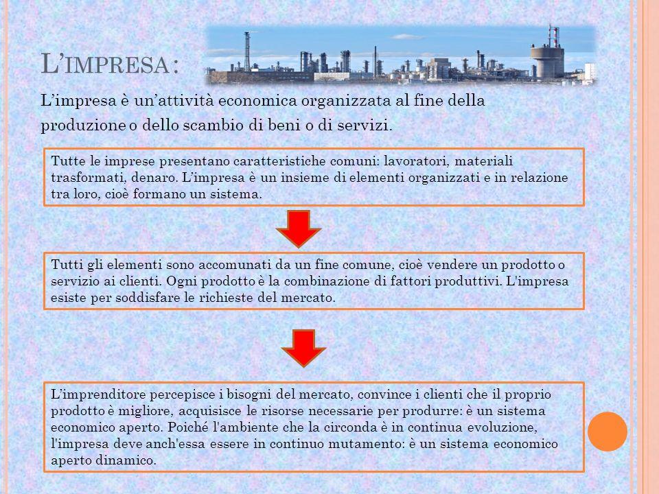 L IMPRESA : Limpresa è unattività economica organizzata al fine della produzione o dello scambio di beni o di servizi. Tutte le imprese presentano car