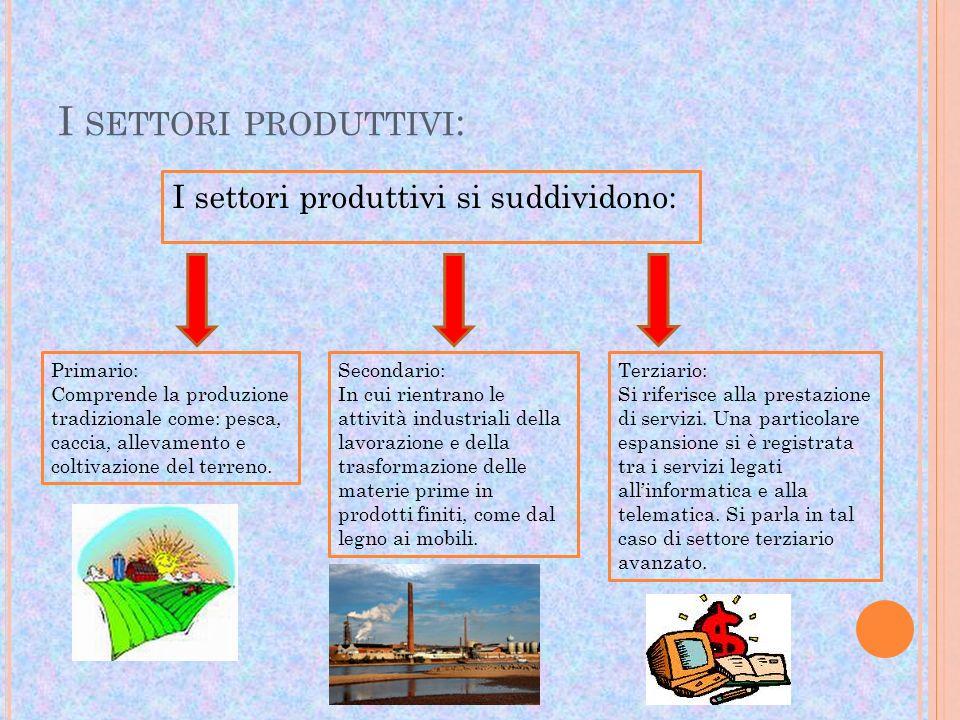 I SETTORI PRODUTTIVI : I settori produttivi si suddividono: Primario: Comprende la produzione tradizionale come: pesca, caccia, allevamento e coltivaz