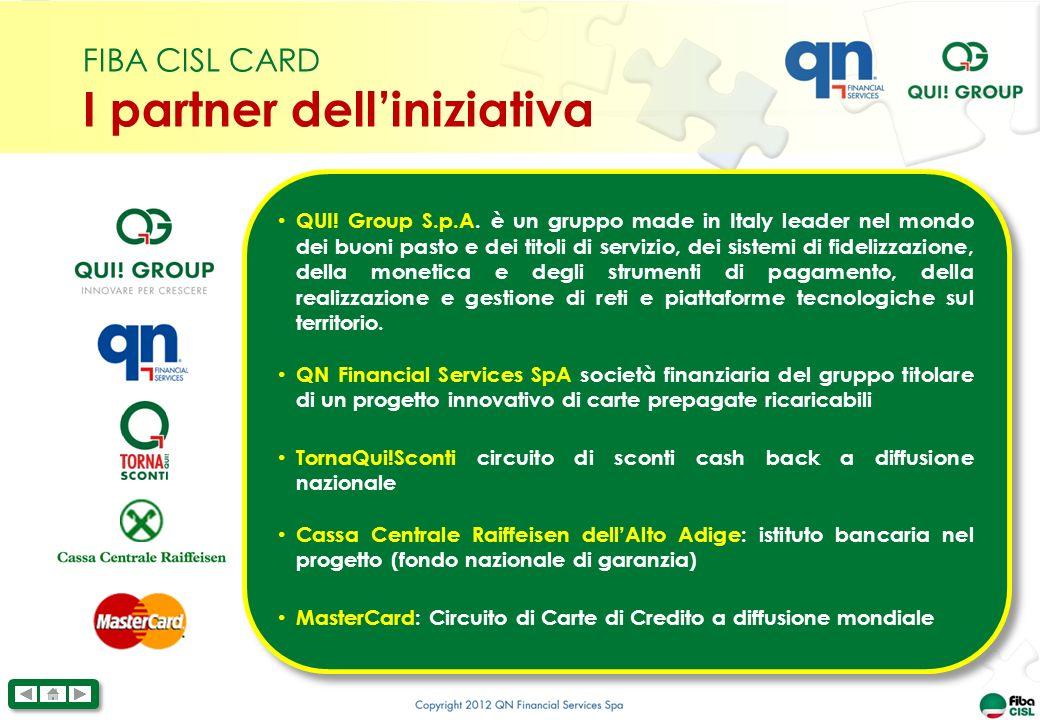 FIBA CISL CARD I partner delliniziativa QUI.Group S.p.A.