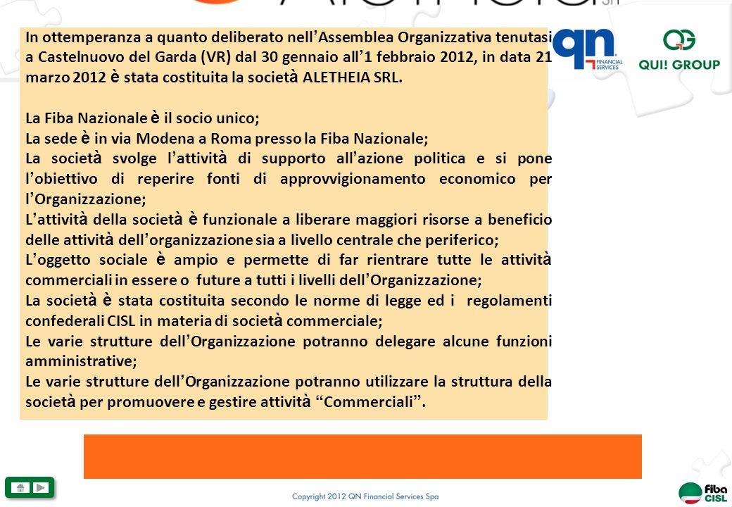 In ottemperanza a quanto deliberato nell Assemblea Organizzativa tenutasi a Castelnuovo del Garda (VR) dal 30 gennaio all 1 febbraio 2012, in data 21 marzo 2012 è stata costituita la societ à ALETHEIA SRL.