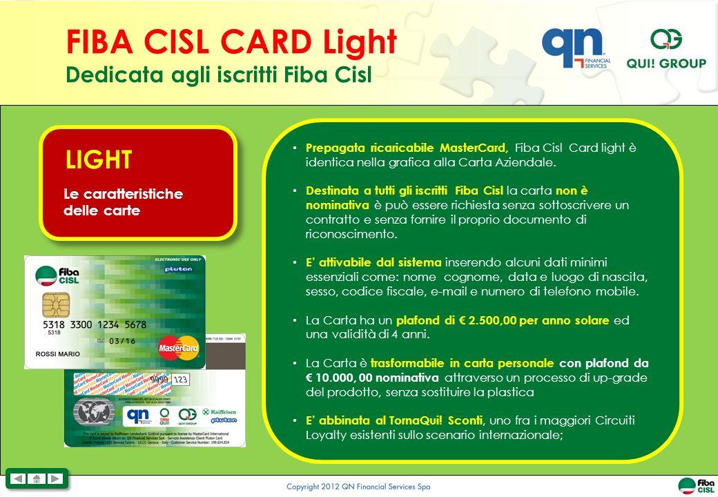 Prepagata ricaricabile MasterCard, Fiba Cisl Card light è identica nella grafica alla Carta Aziendale.