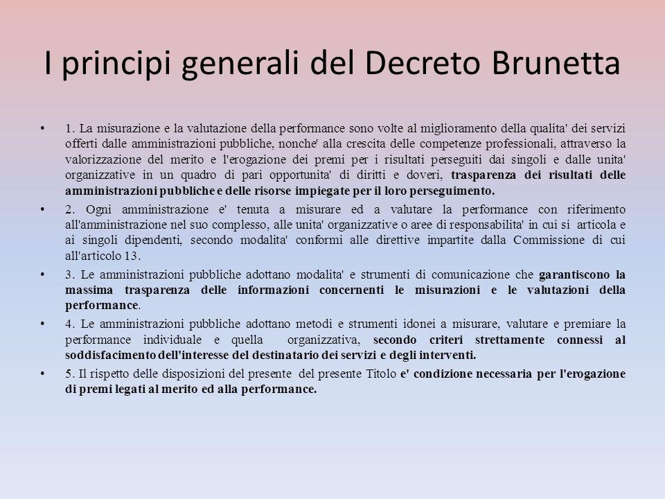 I principi generali del Decreto Brunetta 1. La misurazione e la valutazione della performance sono volte al miglioramento della qualita' dei servizi o