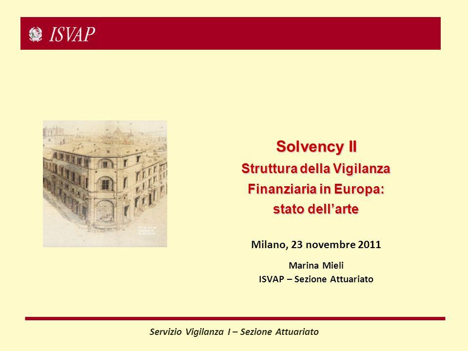 Servizio Vigilanza I – Sezione Attuariato Milano, 23 novembre 2011 Marina Mieli ISVAP – Sezione Attuariato Solvency II Struttura della Vigilanza Finanziaria in Europa: stato dellarte
