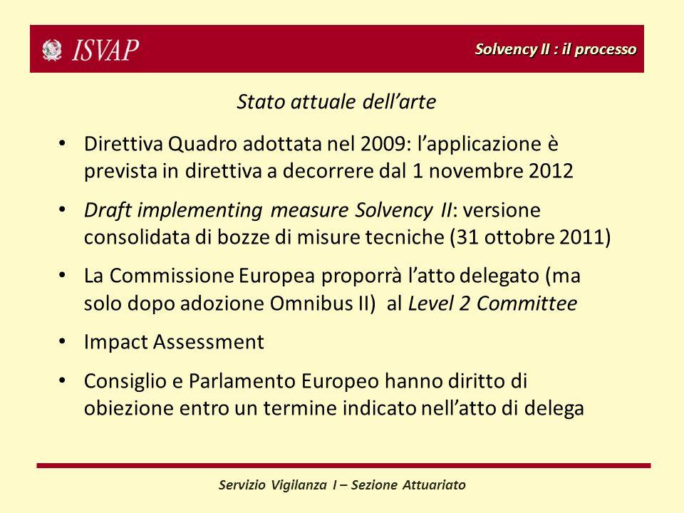 Solvency II : il processo Servizio Vigilanza I – Sezione Attuariato Stato attuale dellarte Direttiva Quadro adottata nel 2009: lapplicazione è previst
