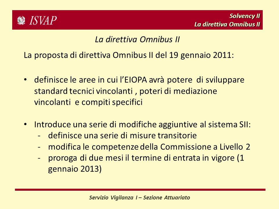 Solvency II La direttiva Omnibus II Servizio Vigilanza I – Sezione Attuariato La direttiva Omnibus II La proposta di direttiva Omnibus II del 19 gennaio 2011: definisce le aree in cui lEIOPA avrà potere di sviluppare standard tecnici vincolanti, poteri di mediazione vincolanti e compiti specifici Introduce una serie di modifiche aggiuntive al sistema SII: -definisce una serie di misure transitorie -modifica le competenze della Commissione a Livello 2 -proroga di due mesi il termine di entrata in vigore (1 gennaio 2013)