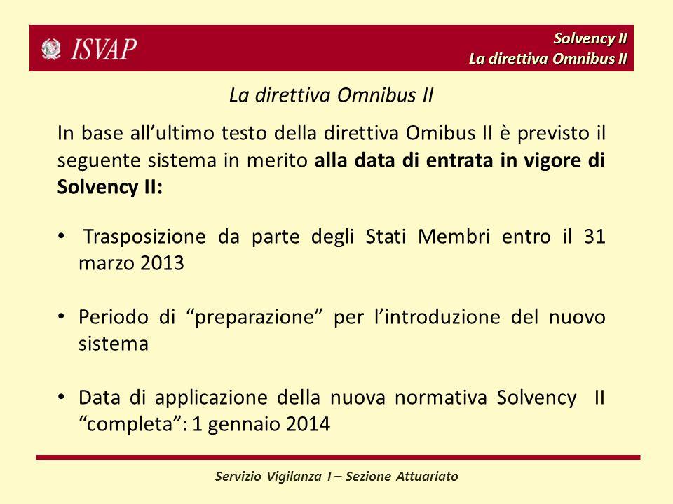 Solvency II La direttiva Omnibus II Servizio Vigilanza I – Sezione Attuariato La direttiva Omnibus II In base allultimo testo della direttiva Omibus II è previsto il seguente sistema in merito alla data di entrata in vigore di Solvency II: Trasposizione da parte degli Stati Membri entro il 31 marzo 2013 Periodo di preparazione per lintroduzione del nuovo sistema Data di applicazione della nuova normativa Solvency II completa: 1 gennaio 2014