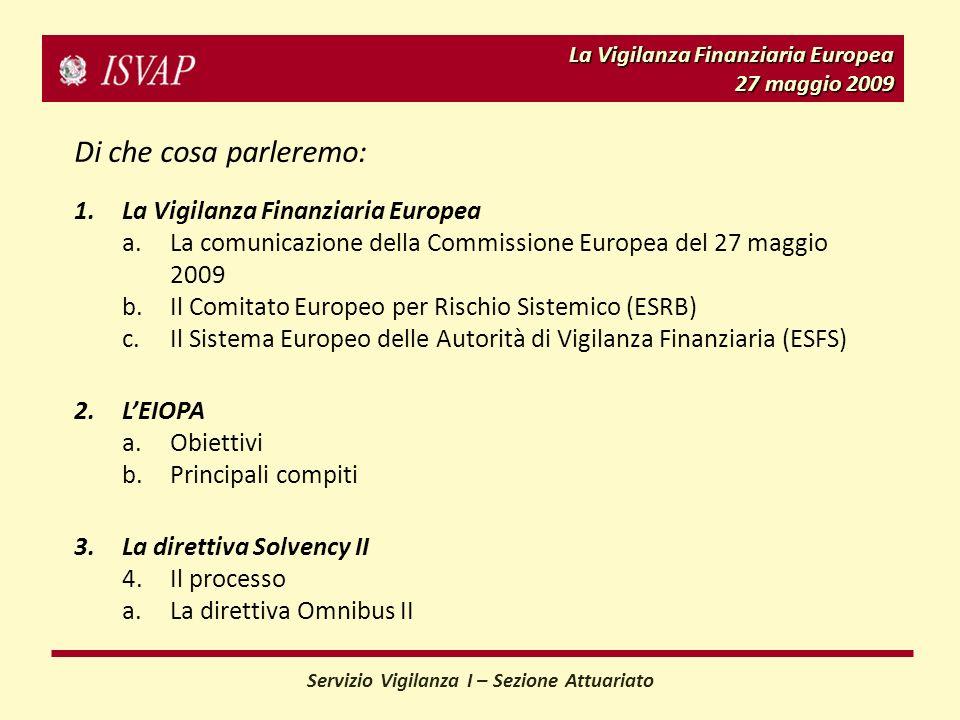 La Vigilanza Finanziaria Europea 27 maggio 2009 Servizio Vigilanza I – Sezione Attuariato Di che cosa parleremo: 1.La Vigilanza Finanziaria Europea a.La comunicazione della Commissione Europea del 27 maggio 2009 b.Il Comitato Europeo per Rischio Sistemico (ESRB) c.Il Sistema Europeo delle Autorità di Vigilanza Finanziaria (ESFS) 2.LEIOPA a.Obiettivi b.Principali compiti 3.La direttiva Solvency II 4.Il processo a.La direttiva Omnibus II