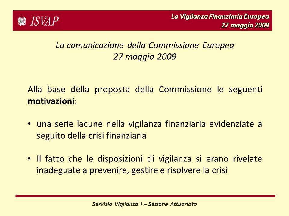 La Vigilanza Finanziaria Europea 27 maggio 2009 La comunicazione della Commissione Europea 27 maggio 2009 Alla base della proposta della Commissione l