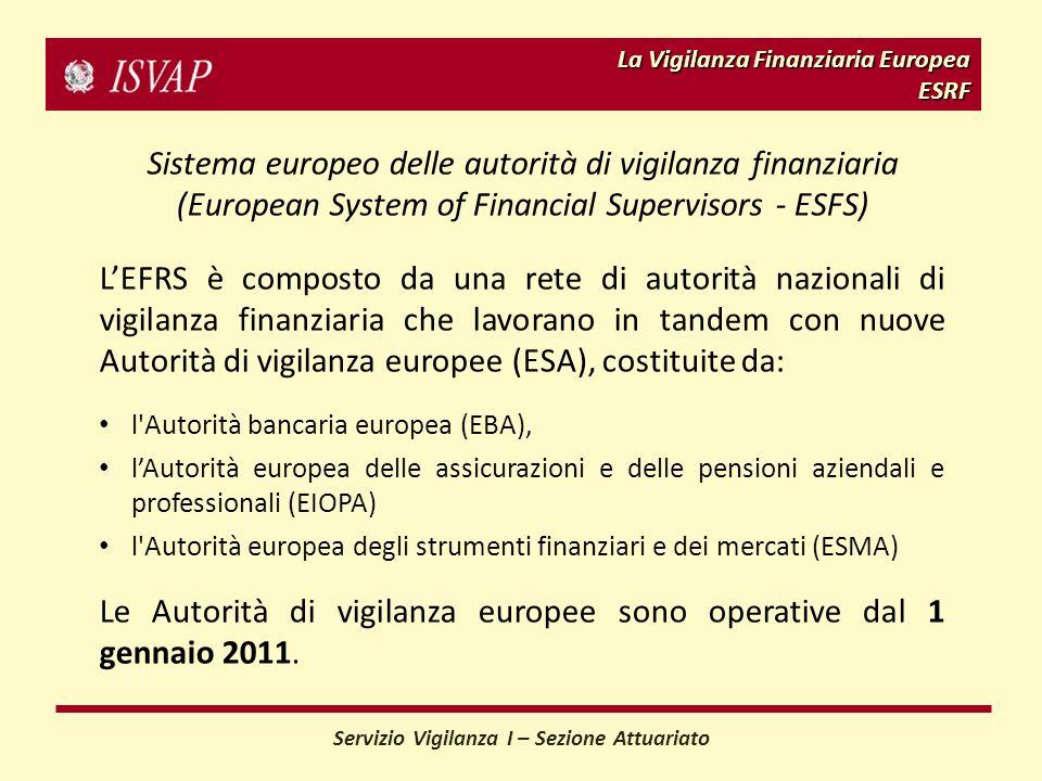 La Vigilanza Finanziaria Europea ESRF Sistema europeo delle autorità di vigilanza finanziaria (European System of Financial Supervisors - ESFS) LEFRS è composto da una rete di autorità nazionali di vigilanza finanziaria che lavorano in tandem con nuove Autorità di vigilanza europee (ESA), costituite da: l Autorità bancaria europea (EBA), lAutorità europea delle assicurazioni e delle pensioni aziendali e professionali (EIOPA) l Autorità europea degli strumenti finanziari e dei mercati (ESMA) Le Autorità di vigilanza europee sono operative dal 1 gennaio 2011.