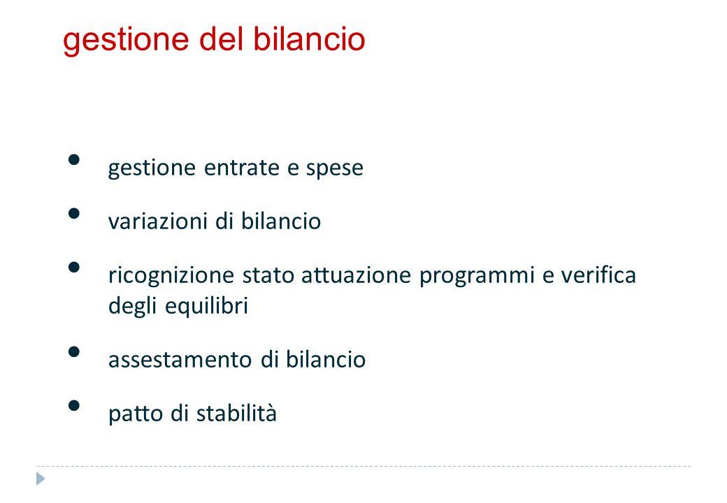 gestione del bilancio gestione entrate e spese variazioni di bilancio ricognizione stato attuazione programmi e verifica degli equilibri assestamento