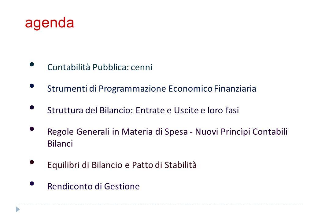 agenda Contabilità Pubblica: cenni Strumenti di Programmazione Economico Finanziaria Struttura del Bilancio: Entrate e Uscite e loro fasi Regole Gener