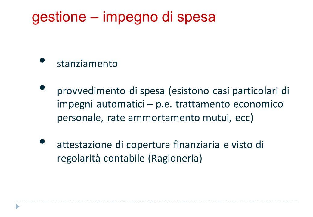 gestione – impegno di spesa stanziamento provvedimento di spesa (esistono casi particolari di impegni automatici – p.e. trattamento economico personal