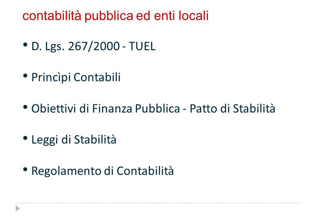 contabilità pubblica ed enti locali D. Lgs. 267/2000 - TUEL Princìpi Contabili Obiettivi di Finanza Pubblica - Patto di Stabilità Leggi di Stabilità R