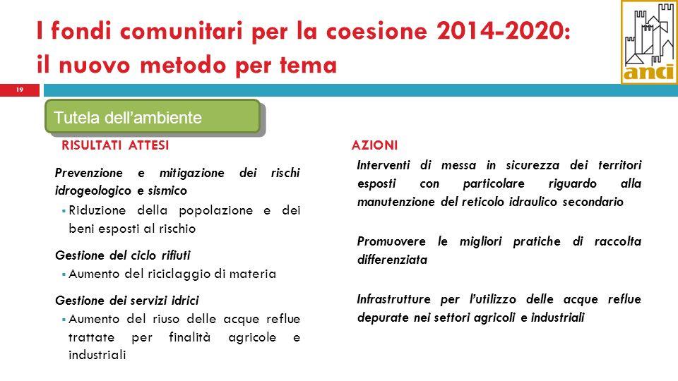 I fondi comunitari per la coesione 2014-2020: il nuovo metodo per tema 19 RISULTATI ATTESI Prevenzione e mitigazione dei rischi idrogeologico e sismic