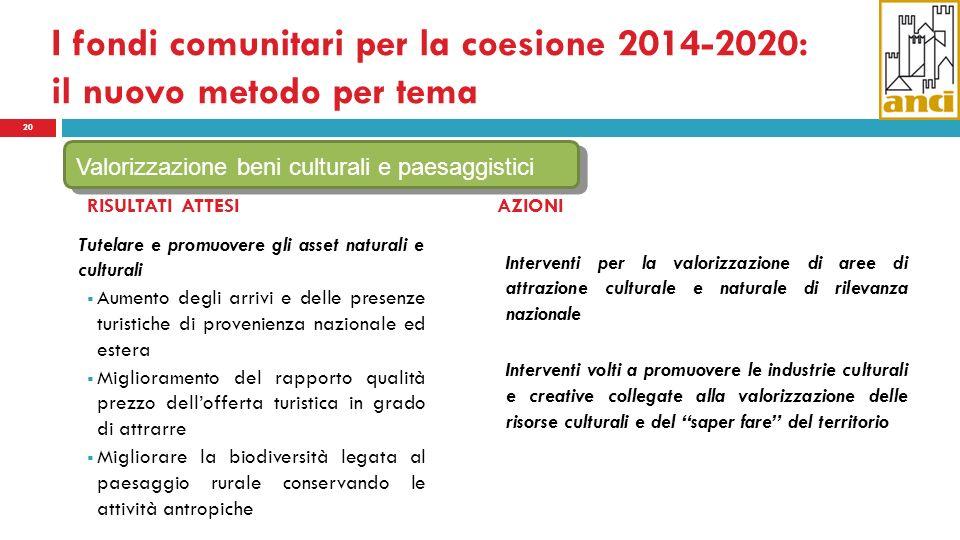 I fondi comunitari per la coesione 2014-2020: il nuovo metodo per tema 20 RISULTATI ATTESI Tutelare e promuovere gli asset naturali e culturali Aument