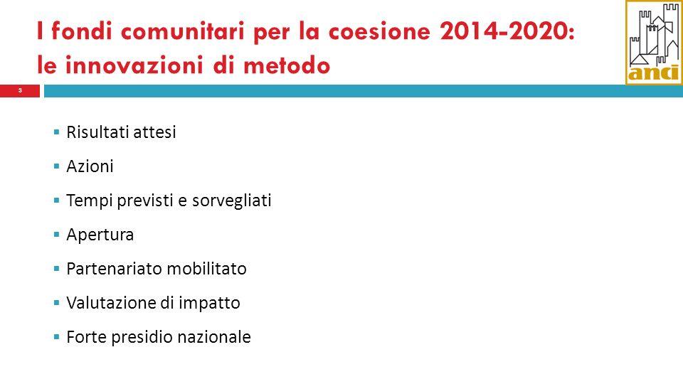 I fondi comunitari per la coesione 2014-2020: le innovazioni di metodo 3 Risultati attesi Azioni Tempi previsti e sorvegliati Apertura Partenariato mobilitato Valutazione di impatto Forte presidio nazionale
