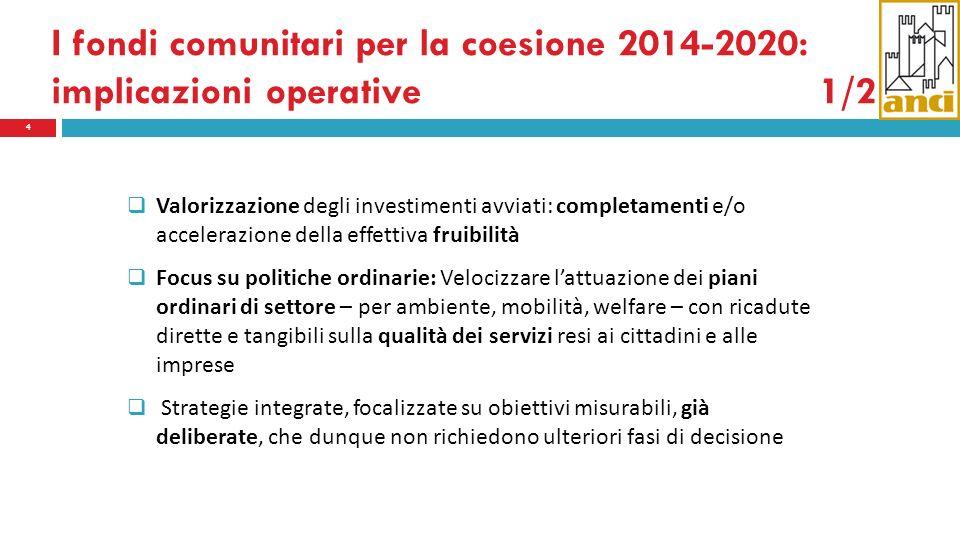 I fondi comunitari per la coesione 2014-2020: implicazioni operative1/2 4 Valorizzazione degli investimenti avviati: completamenti e/o accelerazione d
