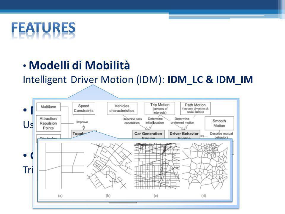 ParametroValore Area di simulazione1000 x 1000 m Tipo mappaDiagramma di Voronoi Tipi dei clusterDowntown – Residential - Suburban Caratteristiche delle strade Multi-corsia con max 2 corsie, 2 direzioni di flusso e diversi limiti di velocità in base al tipo di cluster Numero di semafori13 Numero nodi20 Posizione iniziale dei nodiRandom Percorso dei nodiRandom con VehicularStochPathSelection Modello di mobilitàIDM_LC Velocità max20 km\h Velocità min10 km\h Passo temporale di generazione delle traiettorie 0.05 s