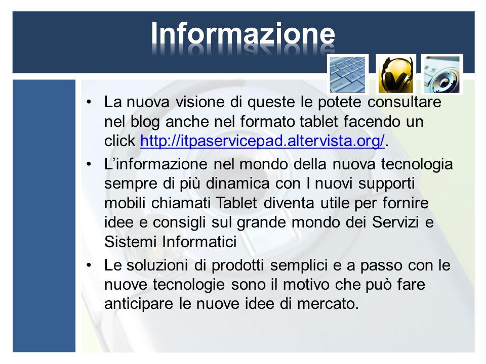 La nuova visione di queste le potete consultare nel blog anche nel formato tablet facendo un click http://itpaservicepad.altervista.org/.http://itpase