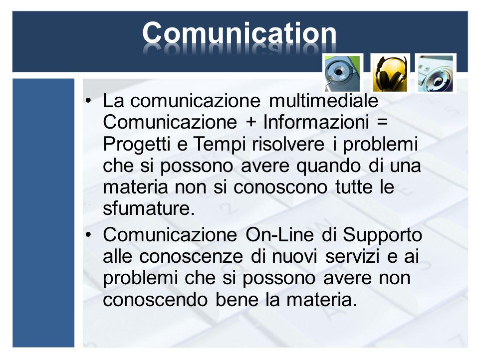 La comunicazione multimediale Comunicazione + Informazioni = Progetti e Tempi risolvere i problemi che si possono avere quando di una materia non si c