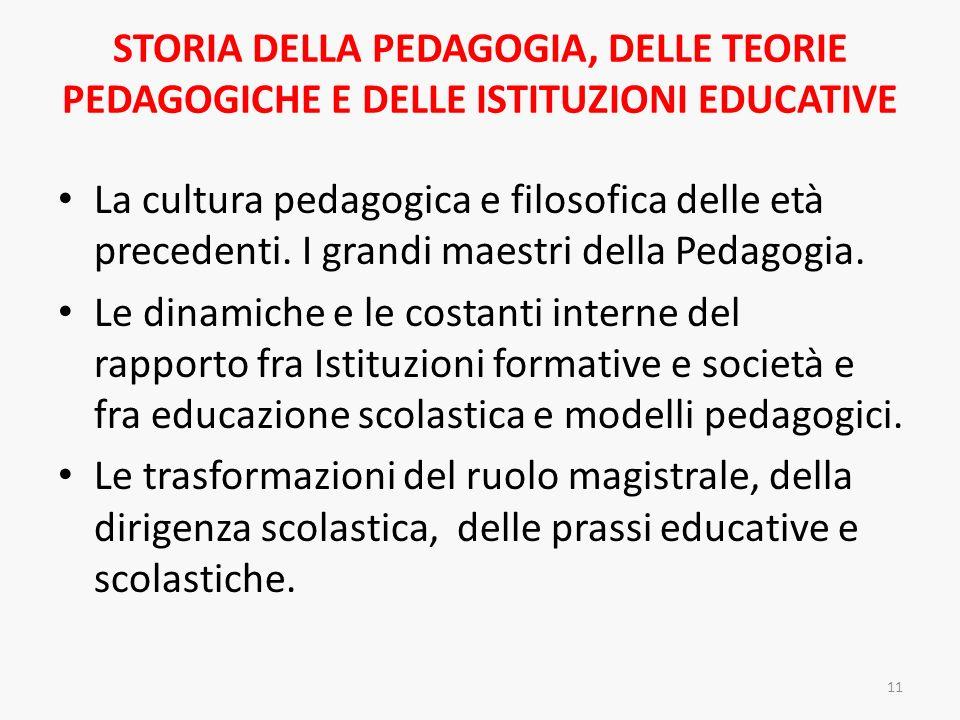 STORIA DELLA PEDAGOGIA, DELLE TEORIE PEDAGOGICHE E DELLE ISTITUZIONI EDUCATIVE La cultura pedagogica e filosofica delle età precedenti. I grandi maest
