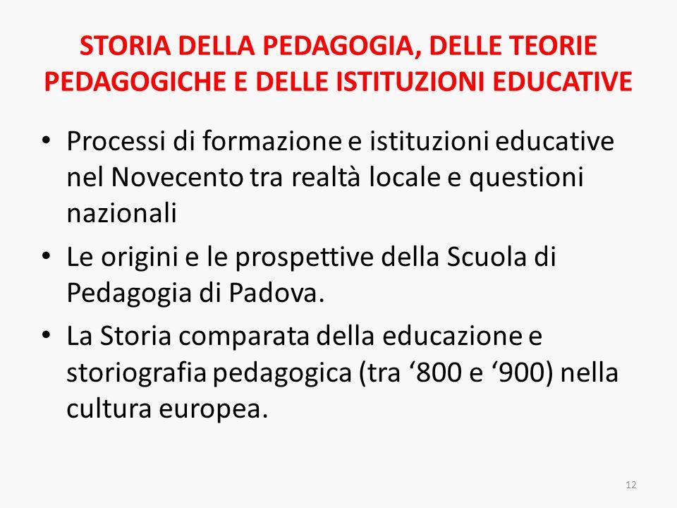 STORIA DELLA PEDAGOGIA, DELLE TEORIE PEDAGOGICHE E DELLE ISTITUZIONI EDUCATIVE Processi di formazione e istituzioni educative nel Novecento tra realtà