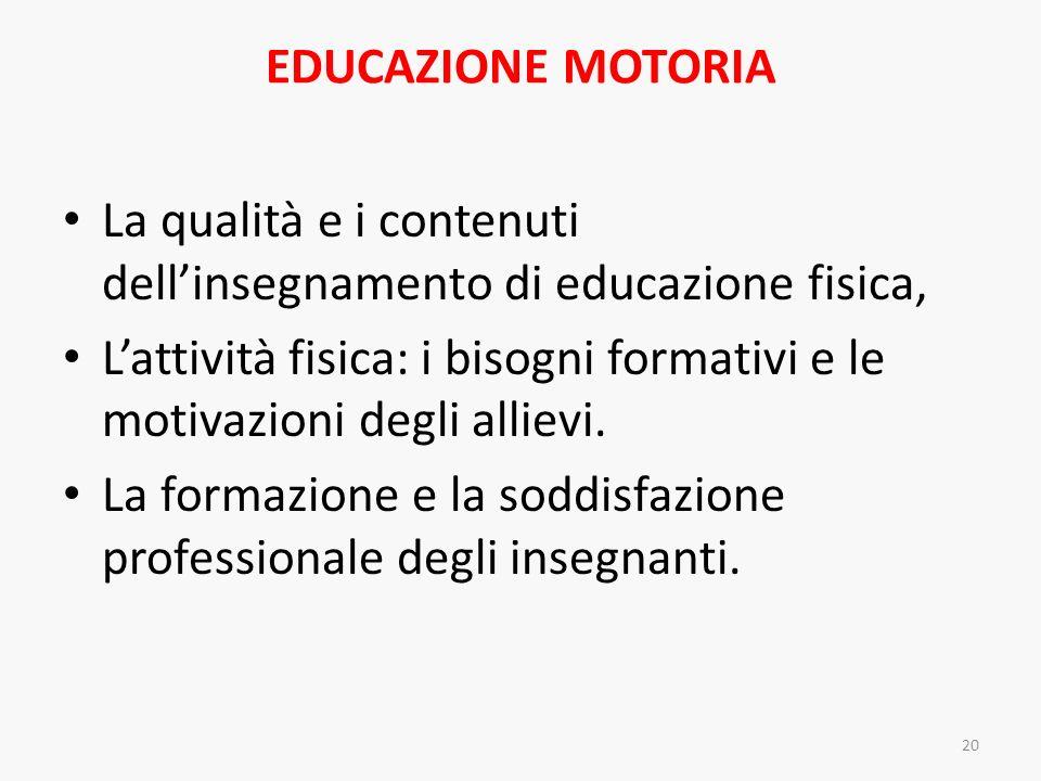 EDUCAZIONE MOTORIA La qualità e i contenuti dellinsegnamento di educazione fisica, Lattività fisica: i bisogni formativi e le motivazioni degli alliev