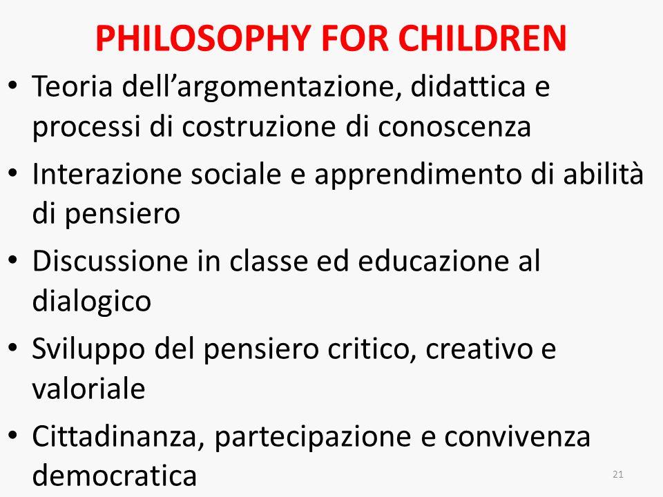PHILOSOPHY FOR CHILDREN Teoria dellargomentazione, didattica e processi di costruzione di conoscenza Interazione sociale e apprendimento di abilità di