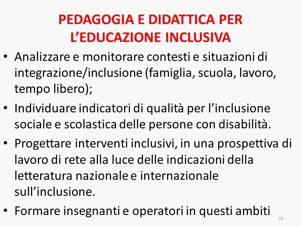 PEDAGOGIA E DIDATTICA PER LEDUCAZIONE INCLUSIVA Analizzare e monitorare contesti e situazioni di integrazione/inclusione (famiglia, scuola, lavoro, te
