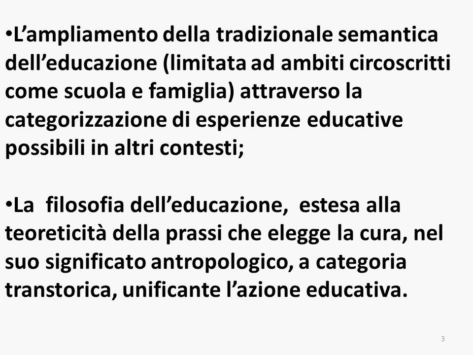 Lampliamento della tradizionale semantica delleducazione (limitata ad ambiti circoscritti come scuola e famiglia) attraverso la categorizzazione di es
