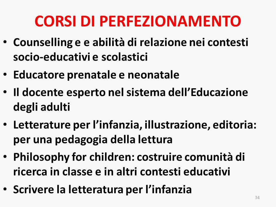 CORSI DI PERFEZIONAMENTO Counselling e e abilità di relazione nei contesti socio-educativi e scolastici Educatore prenatale e neonatale Il docente esp