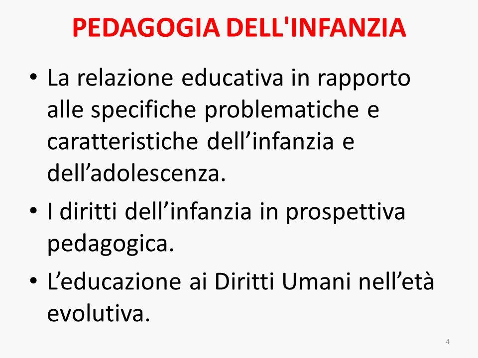 PEDAGOGIA DELL'INFANZIA La relazione educativa in rapporto alle specifiche problematiche e caratteristiche dellinfanzia e delladolescenza. I diritti d