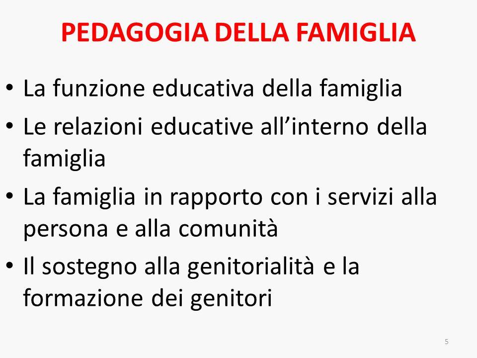 PEDAGOGIA DELLA FAMIGLIA La funzione educativa della famiglia Le relazioni educative allinterno della famiglia La famiglia in rapporto con i servizi a