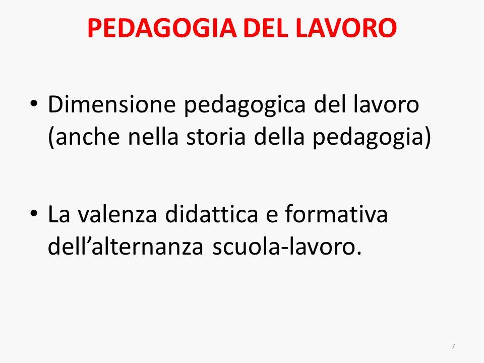 PEDAGOGIA DEL LAVORO Dimensione pedagogica del lavoro (anche nella storia della pedagogia) La valenza didattica e formativa dellalternanza scuola-lavo