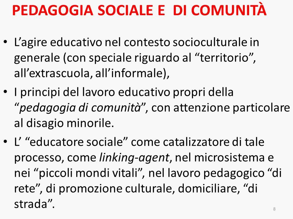 PEDAGOGIA SOCIALE E DI COMUNITÀ Lagire educativo nel contesto socioculturale in generale (con speciale riguardo al territorio, allextrascuola, allinfo