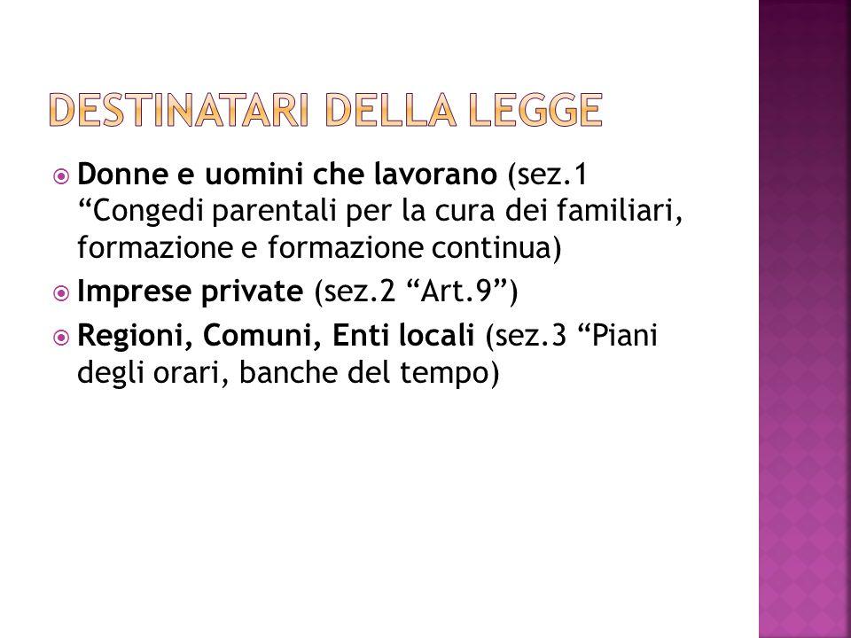 Donne e uomini che lavorano (sez.1 Congedi parentali per la cura dei familiari, formazione e formazione continua) Imprese private (sez.2 Art.9) Region