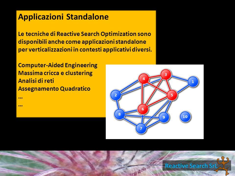 Applicazioni Standalone Le tecniche di Reactive Search Optimization sono disponibili anche come applicazioni standalone per verticalizzazioni in contesti applicativi diversi.