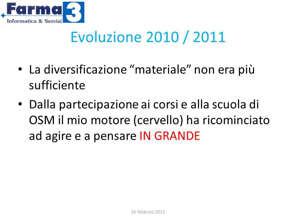 Evoluzione 2010 / 2011 La diversificazione materiale non era più sufficiente Dalla partecipazione ai corsi e alla scuola di OSM il mio motore (cervello) ha ricominciato ad agire e a pensare IN GRANDE 16 febbraio 2012