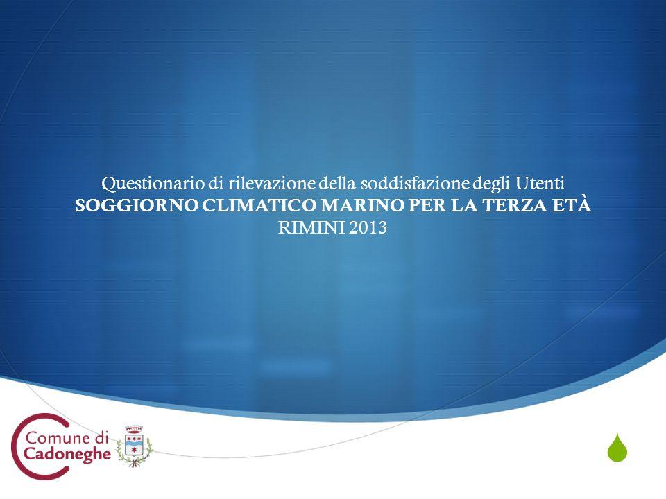 Questionario di rilevazione della soddisfazione degli Utenti SOGGIORNO CLIMATICO MARINO PER LA TERZA ETÀ RIMINI 2013