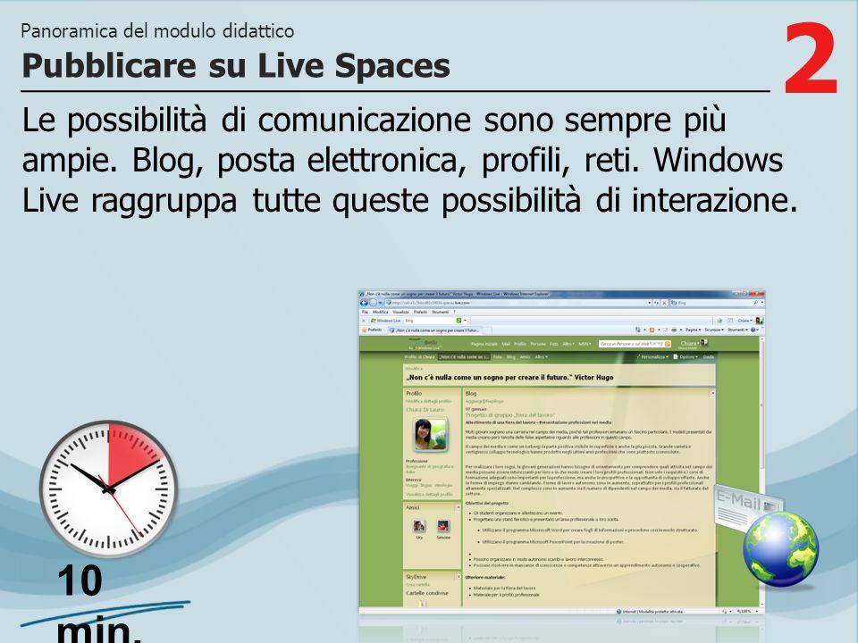 2 Le possibilità di comunicazione sono sempre più ampie. Blog, posta elettronica, profili, reti. Windows Live raggruppa tutte queste possibilità di in