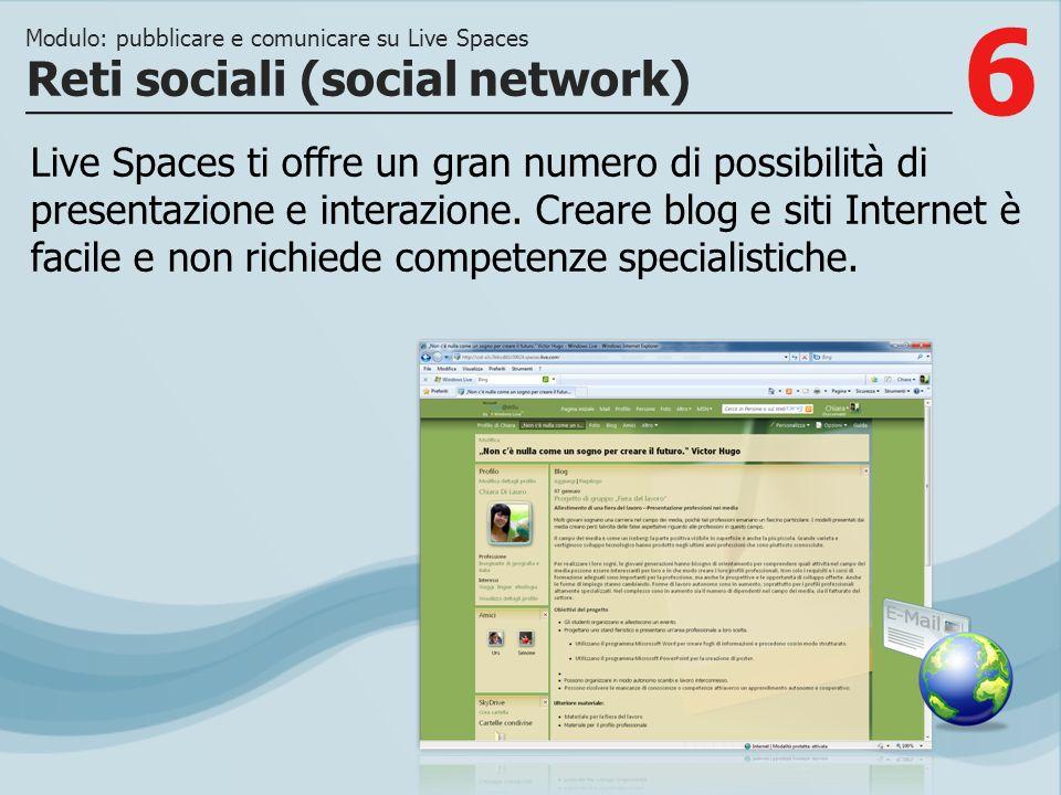6 Live Spaces ti offre un gran numero di possibilità di presentazione e interazione. Creare blog e siti Internet è facile e non richiede competenze sp