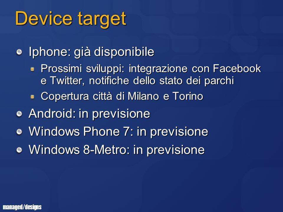 managed/designs Device target Iphone: già disponibile Prossimi sviluppi: integrazione con Facebook e Twitter, notifiche dello stato dei parchi Copertura città di Milano e Torino Android: in previsione Windows Phone 7: in previsione Windows 8-Metro: in previsione