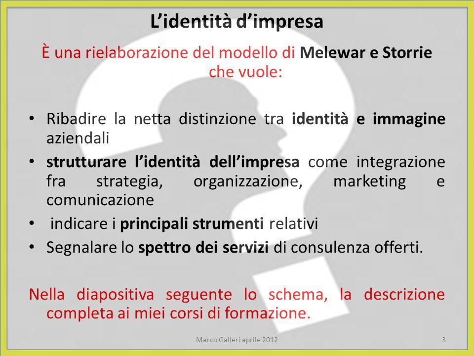 Lidentità dimpresa È una rielaborazione del modello di Melewar e Storrie che vuole: Ribadire la netta distinzione tra identità e immagine aziendali st