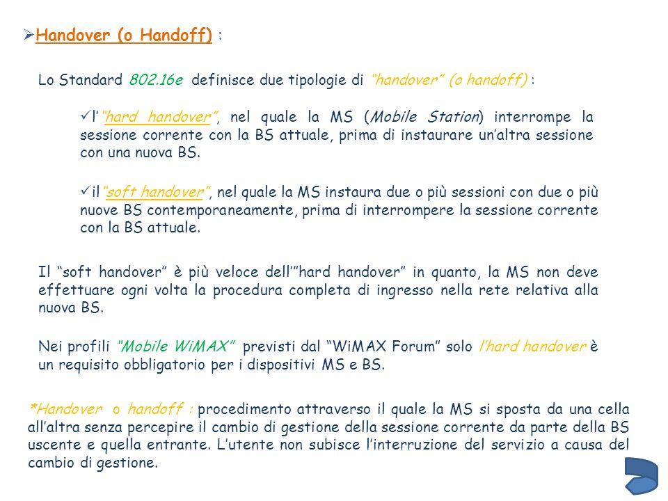 Lo Standard 802.16e definisce due tipologie di handover (o handoff) : lhard handover, nel quale la MS (Mobile Station) interrompe la sessione corrente