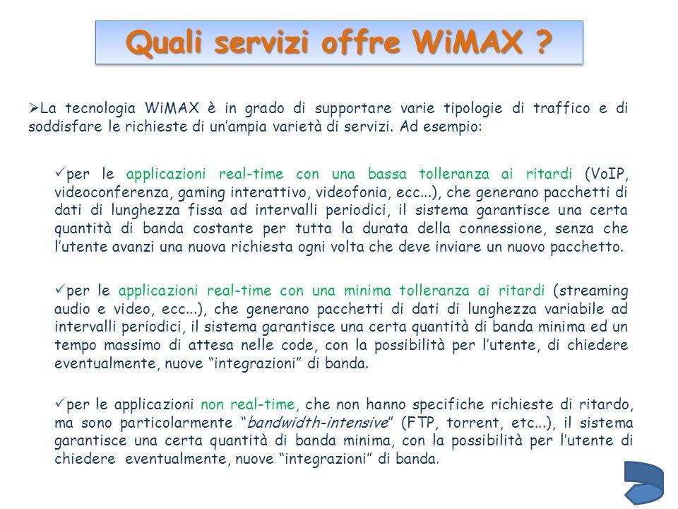 Quali servizi offre WiMAX ? La tecnologia WiMAX è in grado di supportare varie tipologie di traffico e di soddisfare le richieste di unampia varietà d
